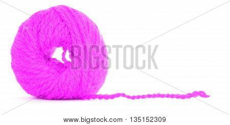 Roll of wool, magenta texture, isolated on white background