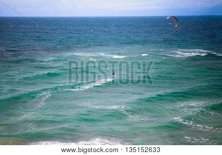kite surfer surfing, extreme water sport