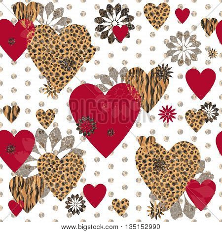 Seamless Valentine patterned texture in the form of a square frame