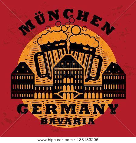 Stamp set with words Munchen, Bavaria, Germany inside, vector illustration