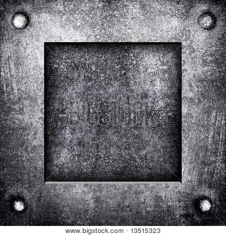 crude metal plate