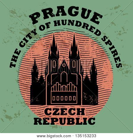 Stamp set with the name of Prague, Czech Republic written inside the stamp, vector illustration