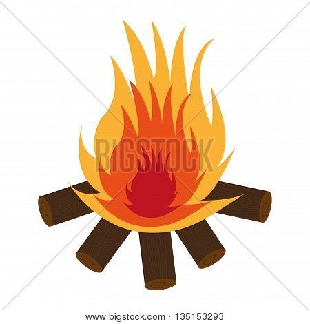 brown wooden logs with red and yellow flame over isolated background, vector illustration
