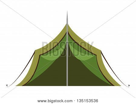 green camping tent  with grey stripes over isolated background, vector illustration