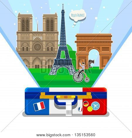 Concept of travel to France or studying French. French flag with landmarks in open suitcase. Excellent vacation in France. Cool trip to France. Fine travel to France. Time to travel. Tourism in France. Flat design, vector illustration