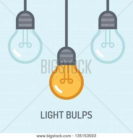 Light bulbs background. Idea concept. Energy power, electricity bright light, vector illustration. Flat design style