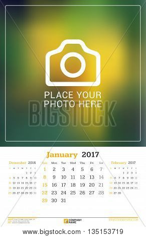 January 2017. Wall Monthly Calendar For 2017 Year. Vector Design Print Template With Place For Photo