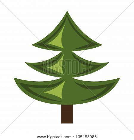 green pine tree with brown wooden log over isolated background, vector illustration