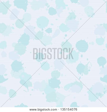 Vector seamless blot pattern in sky blue turquoise color. Tender delicate romantic design for textile fabric wrapping cover website card background. Baby watercolor pattern