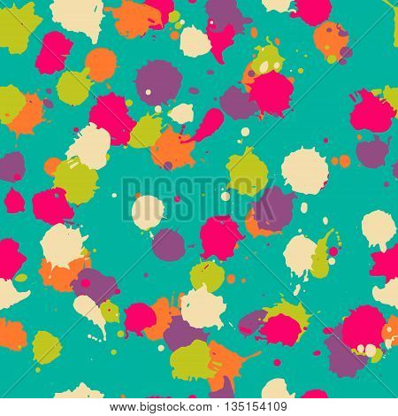 Vector seamless blot pattern in psychedelic. Colorful design for textile fabric wrapping cover website background. Baby watercolor pattern in orange blue green purple pink