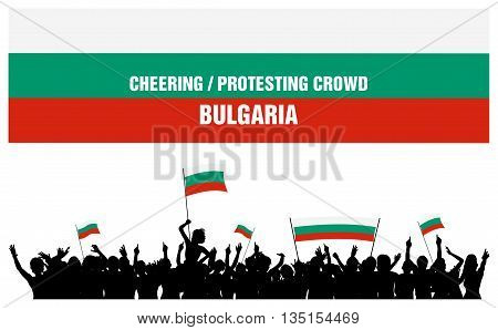 Bulgaria silhouettes of cheering or protesting crowd of people with Bulgarian flags and banners.