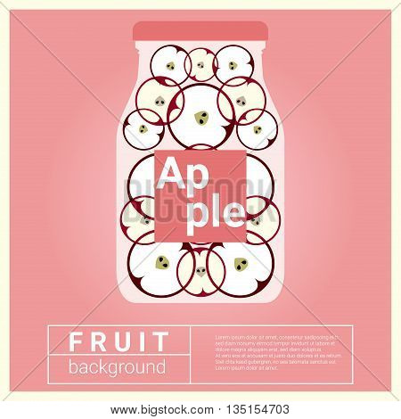 Infused water fruit recipe with apple, vector, illustration