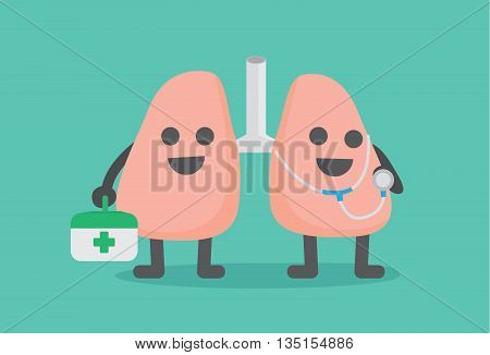 Doctor Lung cartoon character holding stethoscope and first aid kit. Character design about lung health care