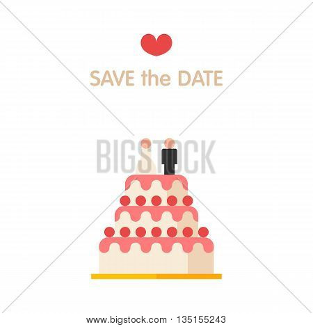 Vector illustration of wedding cake style flat. Save the date
