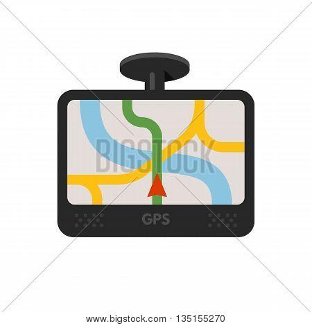 Car navigator device. Mobile gps navigation. Navigation system. Vector flat illustration isolated on white background.