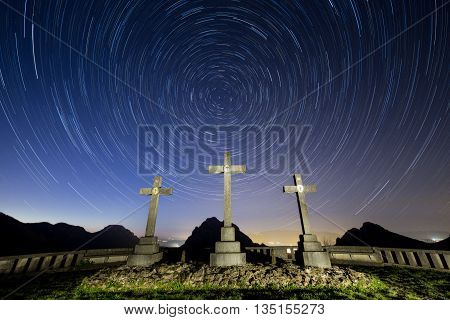 Star trail over the station of crosses