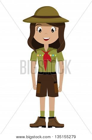 avatar girl wearing green clothes and hat with brown loop and red scarf over isolated background, vector illustration