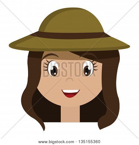 avatar girl wearing green hat with brown loop over isolated background, vector illustration