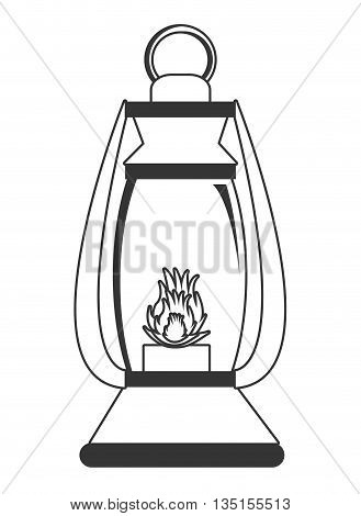 lantern with flame over isolated background, vector illustration