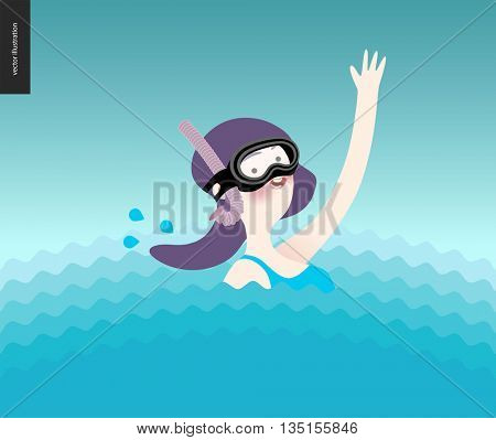 Waving girl in diving mask in the water - a waving scuba diver girl wearing diving mask, snorkel and blue swimming suit coming up from the sea waves