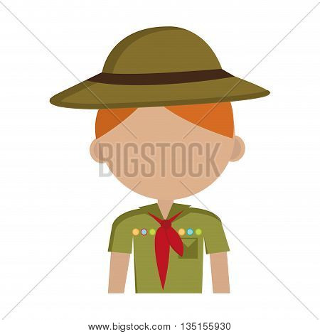 avatar boy wearing green clothes and hat with brown loop and red scarf over isolated background, vector illustration