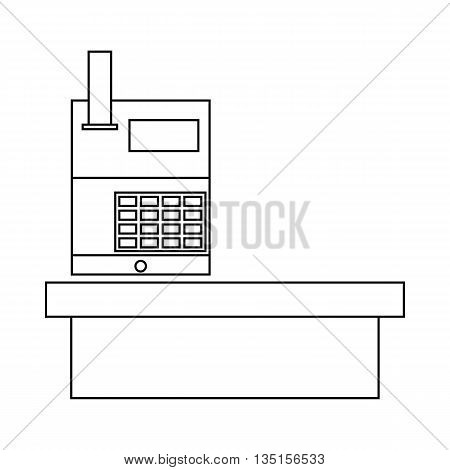 Cash desk in supermarket icon in outline style on a white background