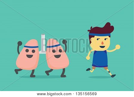 Lung run after healthy man. This illustration about when a man running like a lung get exercising.
