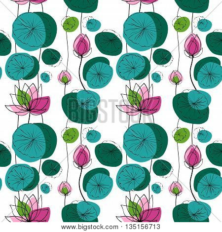 Lotus flowers and pads vector seamless pattern