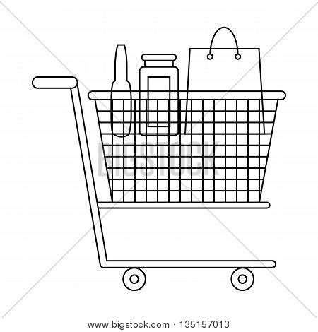 Shopping cart with grocery products icon in outline style on a white background