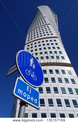 MALMO SWEDEN - APRIL 9 2013: Turning Torso skyscraper on APRIL 8 2013 in Malmo Sweden. Designed by Santiago Calatrava it is the most recognized landmark of Malmo and Sweden today.