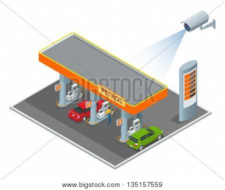 CCTV security camera on isometric illustration of petrol diesel station. 3d isometric vector illustration