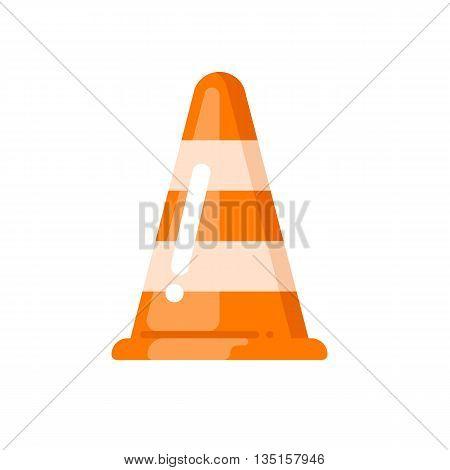 Cone simple vector icon. Road vector sign