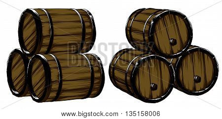 Six wine of barrels for beer, freehand drawing