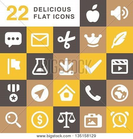 Set of delicious flat vector icons for website end mobile app
