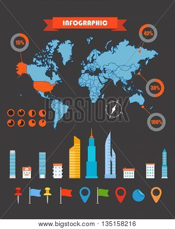 Infographics. Earth map and different charts on black. Infographic elements template