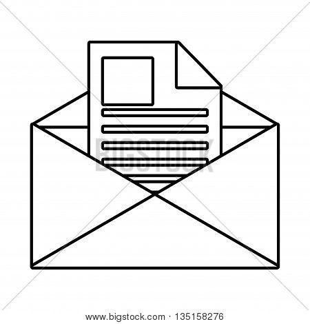 white envelope with  letter and square and stripes over isolated background, vector illustration