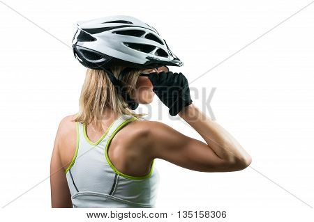 Cyclist concentrated for competition. Concept Winning in sports. Isolated on white background