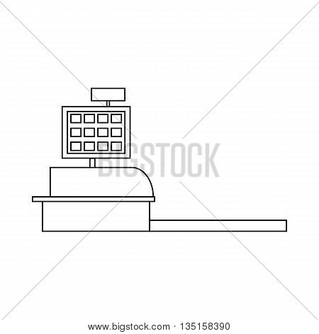 Cash register icon in outline style on a white background