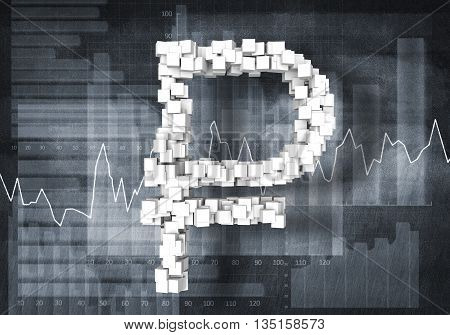 Big rouble currency symbol on graphs and diagrams background, 3d rendering