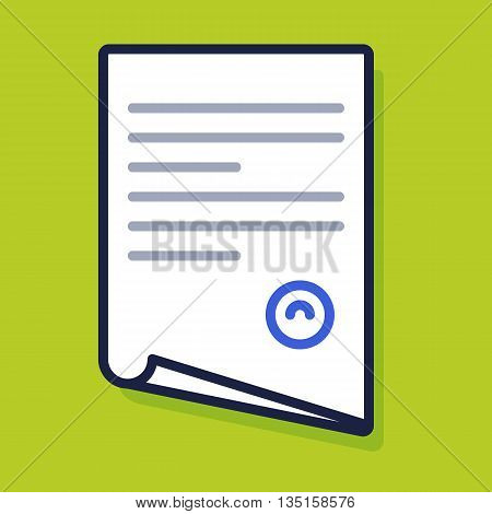File, document, paper, contract, agreement icon. Vector flat illustration.