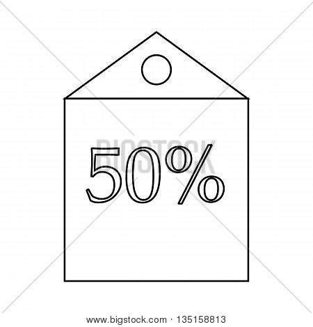 50 percent discount icon in outline style on a white background
