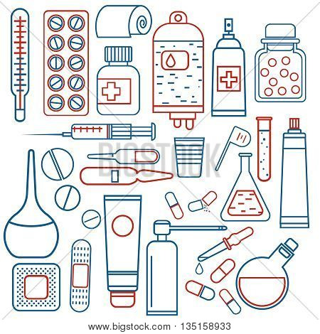 simple vector medical objects set in two colors, drugs and pills icons, thin design