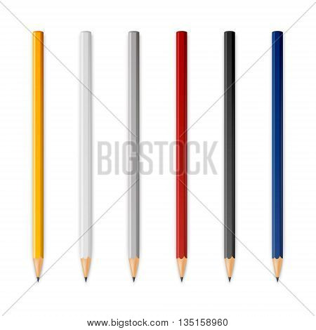 Wooden sharp pencils isolated on a white background. Vector EPS10 illustration.