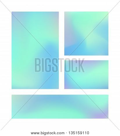 Set of 4 realistic holographic backgrounds in different colors for design.