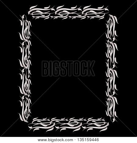 Rectangular plant frame shiny silver color. The lush ornate. Black background.