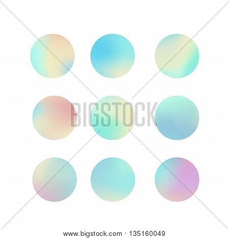Set of holographic circles. Abstract vector illustration.