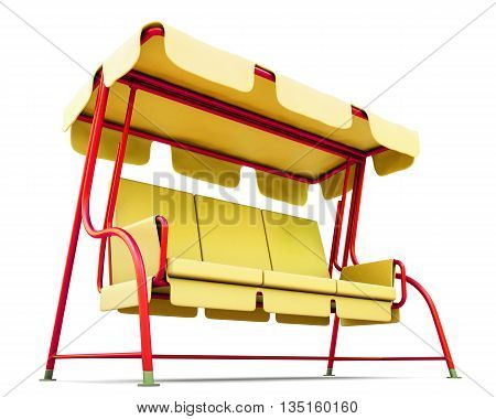 Yellow garden swing with canopy isolated on a white background. 3d render image.