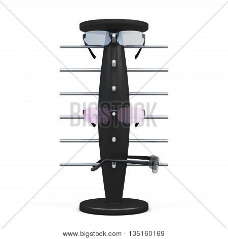 Rack for glasses isolated on white background. 3d rendering.