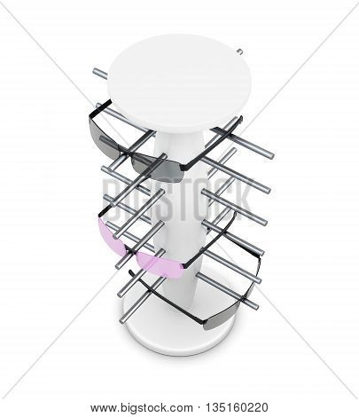 Top view rack for glasses isolated on white background. 3d rendering.