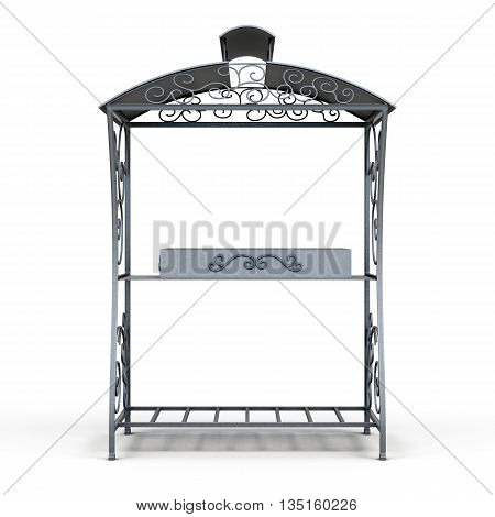Grill with a roof from the rain isolated on white background. Front view. Forged elements, ornament. 3d rendering